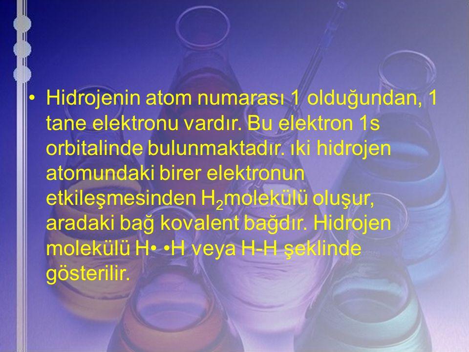 Hidrojenin atom numarası 1 olduğundan, 1 tane elektronu vardır. Bu elektron 1s orbitalinde bulunmaktadır. ıki hidrojen atomundaki birer elektronun etk