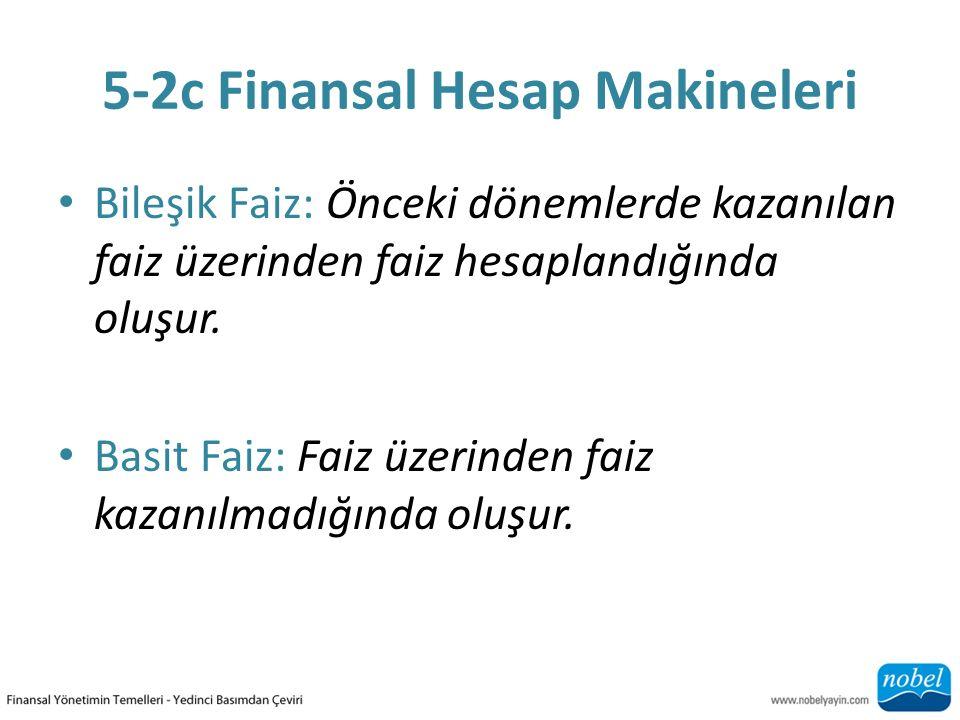 5-2c Finansal Hesap Makineleri Bileşik Faiz: Önceki dönemlerde kazanılan faiz üzerinden faiz hesaplandığında oluşur. Basit Faiz: Faiz üzerinden faiz k