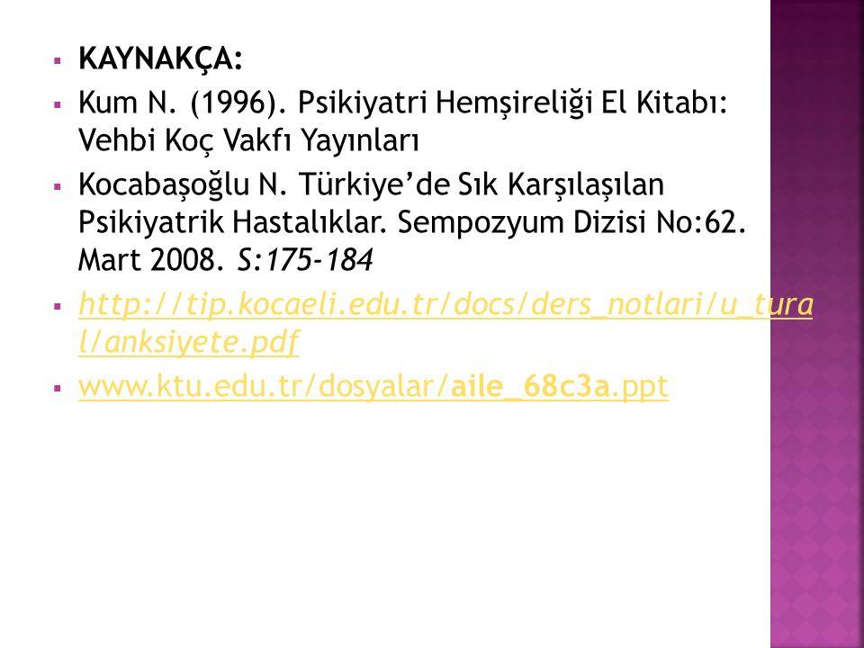  KAYNAKÇA:  Kum N. (1996). Psikiyatri Hemşireliği El Kitabı: Vehbi Koç Vakfı Yayınları  Kocabaşoğlu N. Türkiye'de Sık Karşılaşılan Psikiyatrik Hast