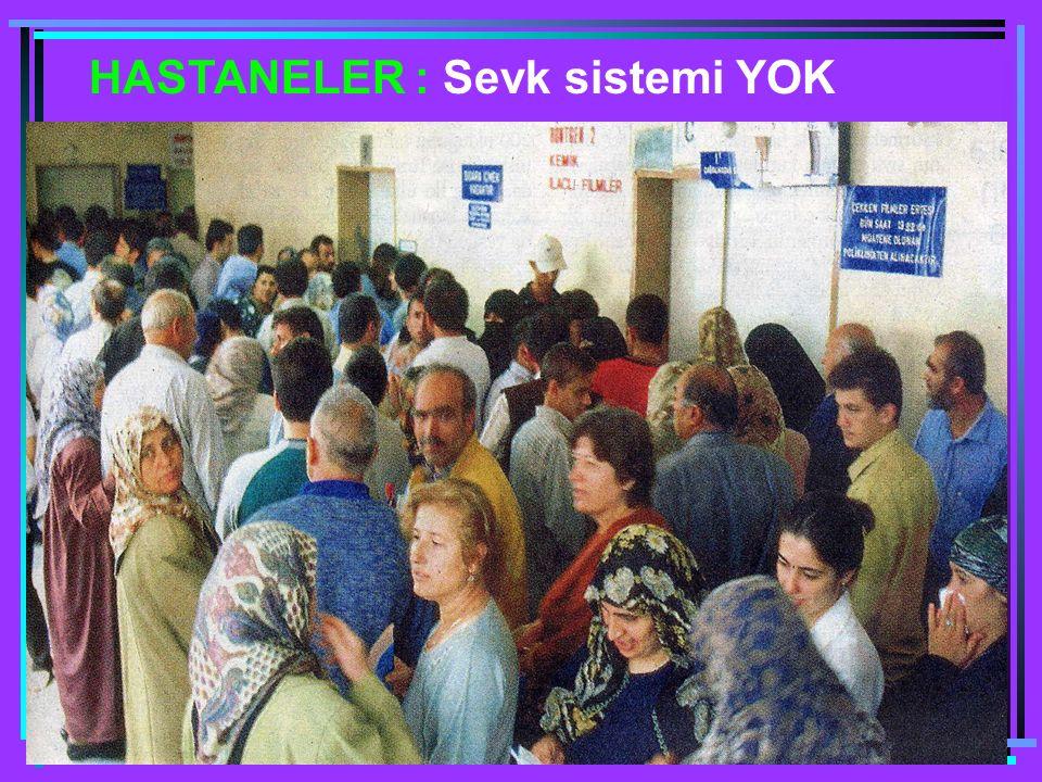 HASTANELER : Sevk sistemi YOK