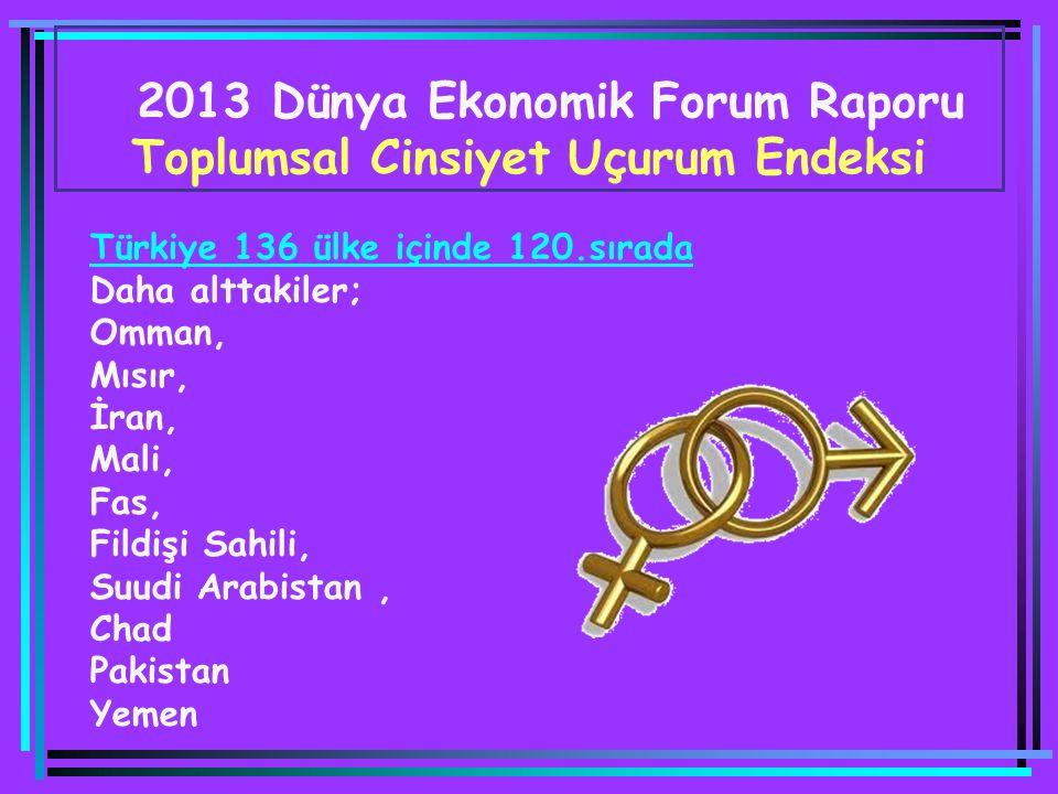 2013 Dünya Ekonomik Forum Raporu Toplumsal Cinsiyet Uçurum Endeksi Türkiye 136 ülke içinde 120.sırada Daha alttakiler; Omman, Mısır, İran, Mali, Fas, Fildişi Sahili, Suudi Arabistan, Chad Pakistan Yemen