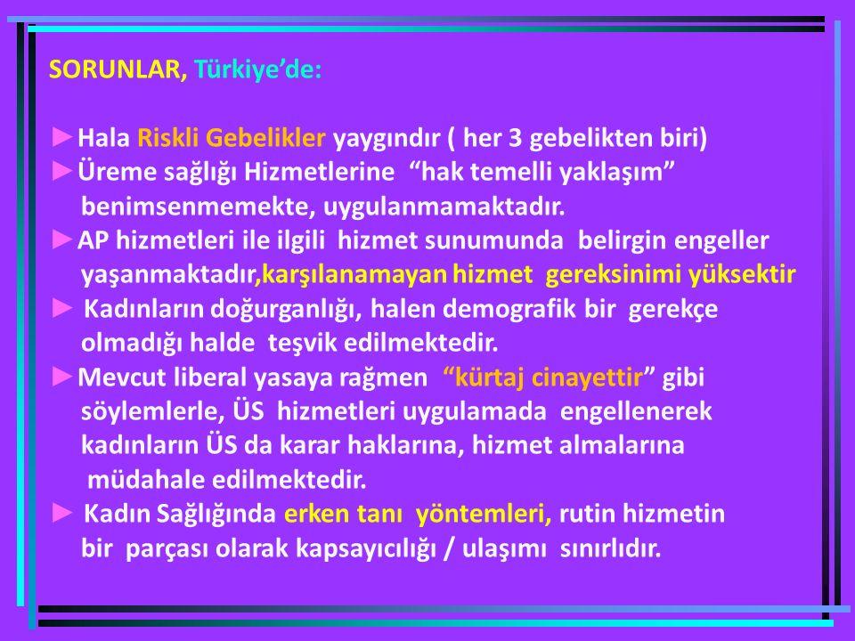 SORUNLAR, Türkiye'de: ► Hala Riskli Gebelikler yaygındır ( her 3 gebelikten biri) ► Üreme sağlığı Hizmetlerine hak temelli yaklaşım benimsenmemekte, uygulanmamaktadır.