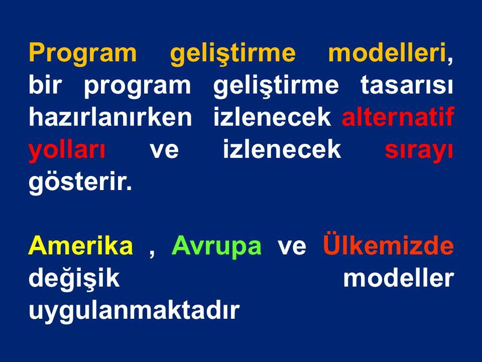 Program geliştirme modelleri, bir program geliştirme tasarısı hazırlanırken izlenecek alternatif yolları ve izlenecek sırayı gösterir.