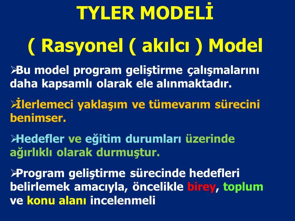 TYLER MODELİ ( Rasyonel ( akılcı ) Model  Bu model program geliştirme çalışmalarını daha kapsamlı olarak ele alınmaktadır.