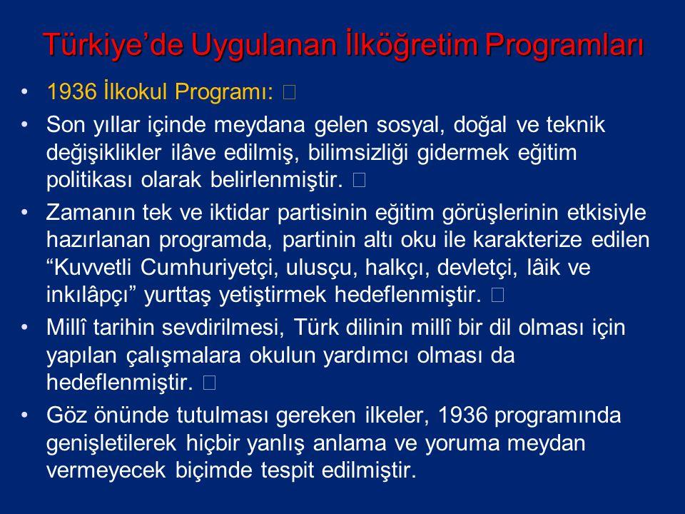 Türkiye'de Uygulanan İlköğretim Programları 1936 İlkokul Programı: ƒ Son yıllar içinde meydana gelen sosyal, doğal ve teknik değişiklikler ilâve edilmiş, bilimsizliği gidermek eğitim politikası olarak belirlenmiştir.