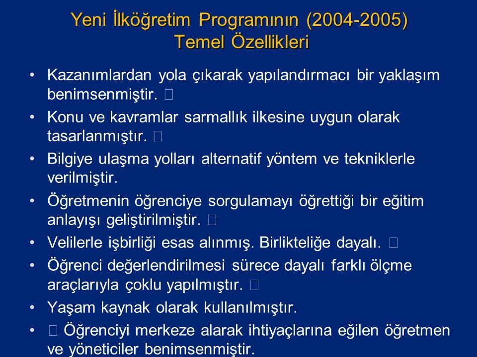 Yeni İlköğretim Programının (2004-2005) Temel Özellikleri Kazanımlardan yola çıkarak yapılandırmacı bir yaklaşım benimsenmiştir.