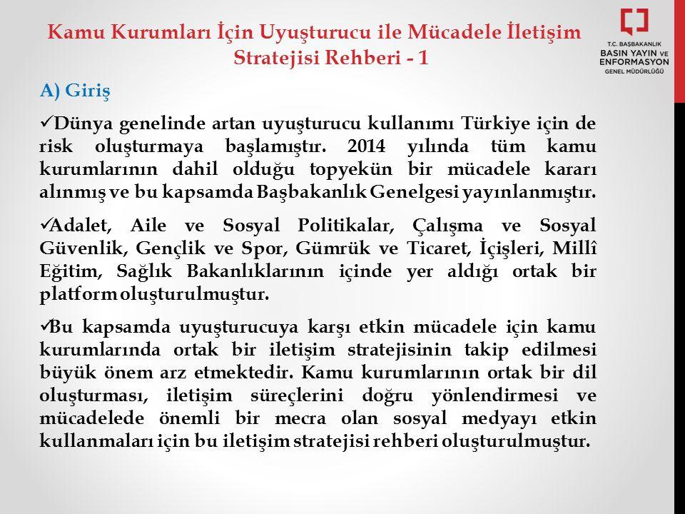 A) Giriş Dünya genelinde artan uyuşturucu kullanımı Türkiye için de risk oluşturmaya başlamıştır.