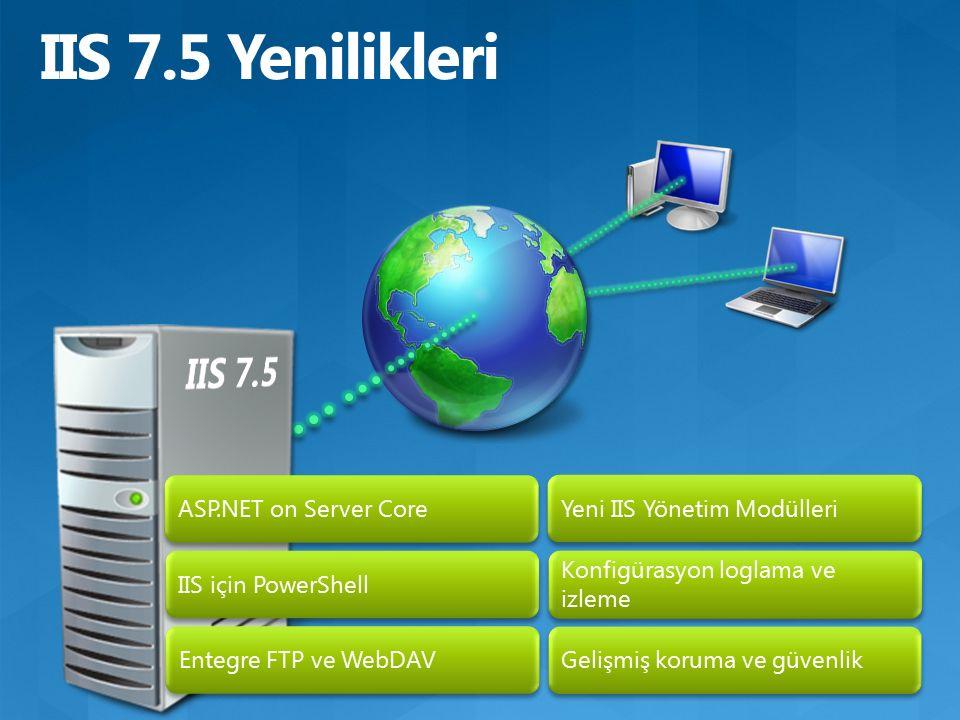 ASP.NET on Server Core IIS için PowerShell Entegre FTP ve WebDAV Yeni IIS Yönetim Modülleri Konfigürasyon loglama ve izleme Gelişmiş koruma ve güvenlik