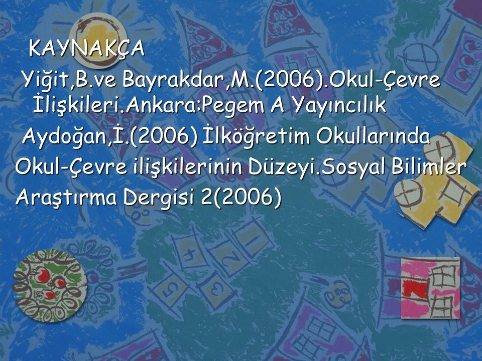 KAYNAKÇA KAYNAKÇA Yiğit,B.ve Bayrakdar,M.(2006).Okul-Çevre İlişkileri.Ankara:Pegem A Yayıncılık Yiğit,B.ve Bayrakdar,M.(2006).Okul-Çevre İlişkileri.Ankara:Pegem A Yayıncılık Aydoğan,İ.(2006) İlköğretim Okullarında Aydoğan,İ.(2006) İlköğretim Okullarında Okul-Çevre ilişkilerinin Düzeyi.Sosyal Bilimler Araştırma Dergisi 2(2006)