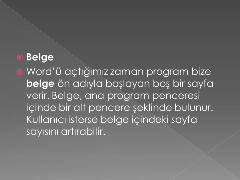  Belge  Word'ü açtığımız zaman program bize belge ön adıyla başlayan boş bir sayfa verir.