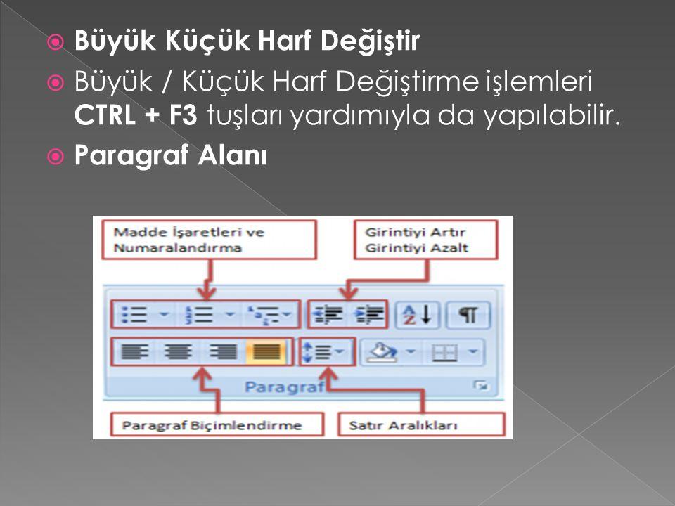  Büyük Küçük Harf Değiştir  Büyük / Küçük Harf Değiştirme işlemleri CTRL + F3 tuşları yardımıyla da yapılabilir.