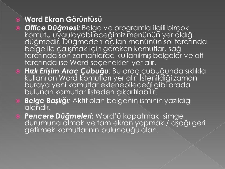  Word Ekran Görüntüsü  Office Düğmesi: Belge ve programla ilgili birçok komutu uygulayabileceğimiz menünün yer aldığı düğmedir.