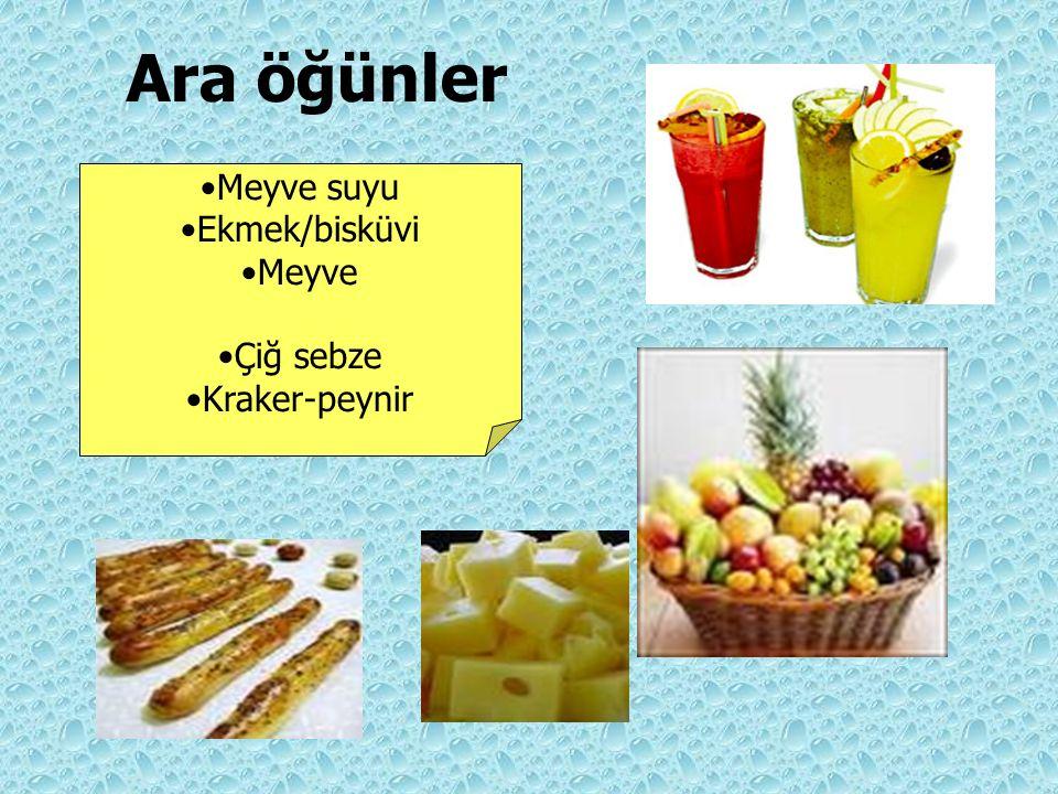 Ara öğünler Meyve suyu Ekmek/bisküvi Meyve Çiğ sebze Kraker-peynir