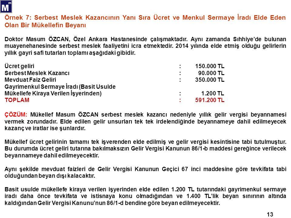 13 Örnek 7: Serbest Meslek Kazancının Yanı Sıra Ücret ve Menkul Sermaye İradı Elde Eden Olan Bir Mükellefin Beyanı Doktor Masum ÖZCAN, Özel Ankara Hastanesinde çalışmaktadır.