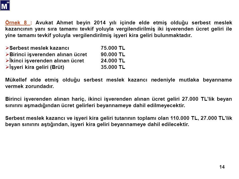 14 Örnek 8 : Avukat Ahmet beyin 2014 yılı içinde elde etmiş olduğu serbest meslek kazancının yanı sıra tamamı tevkif yoluyla vergilendirilmiş iki işve