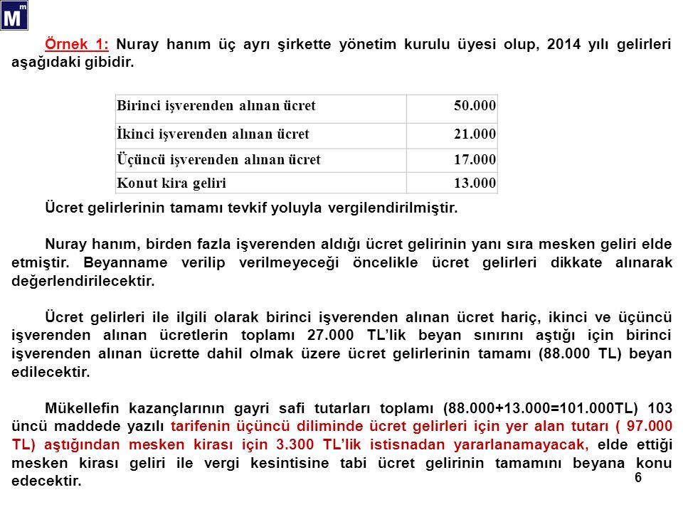 6 Birinci işverenden alınan ücret50.000 İkinci işverenden alınan ücret21.000 Üçüncü işverenden alınan ücret17.000 Konut kira geliri13.000 Örnek 1: Nuray hanım üç ayrı şirkette yönetim kurulu üyesi olup, 2014 yılı gelirleri aşağıdaki gibidir.
