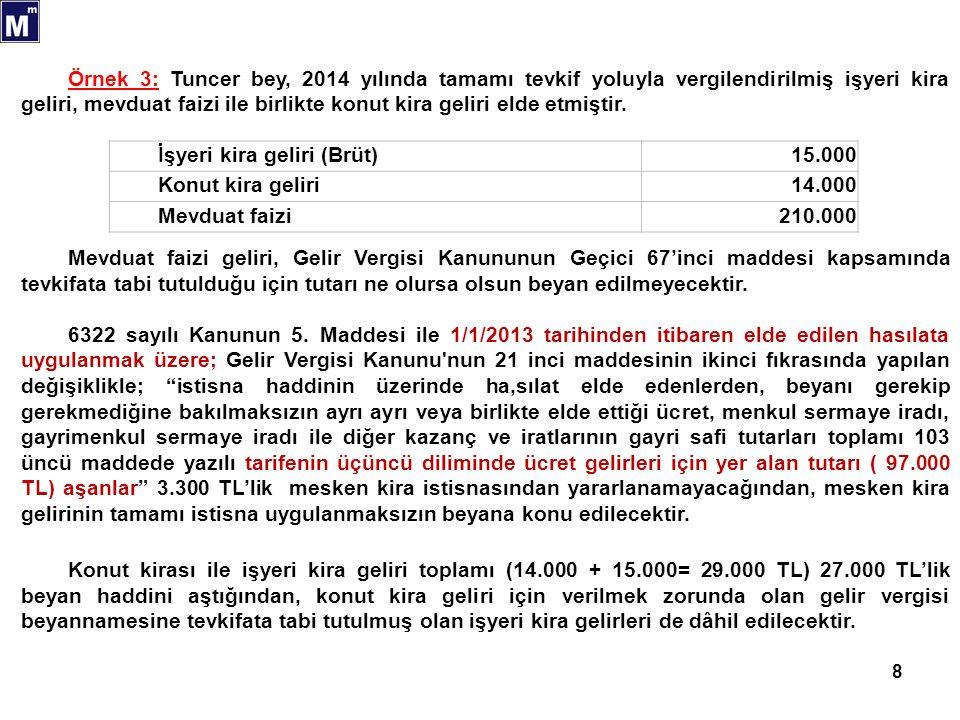 8 İşyeri kira geliri (Brüt)15.000 Konut kira geliri14.000 Mevduat faizi210.000 Örnek 3: Tuncer bey, 2014 yılında tamamı tevkif yoluyla vergilendirilmiş işyeri kira geliri, mevduat faizi ile birlikte konut kira geliri elde etmiştir.