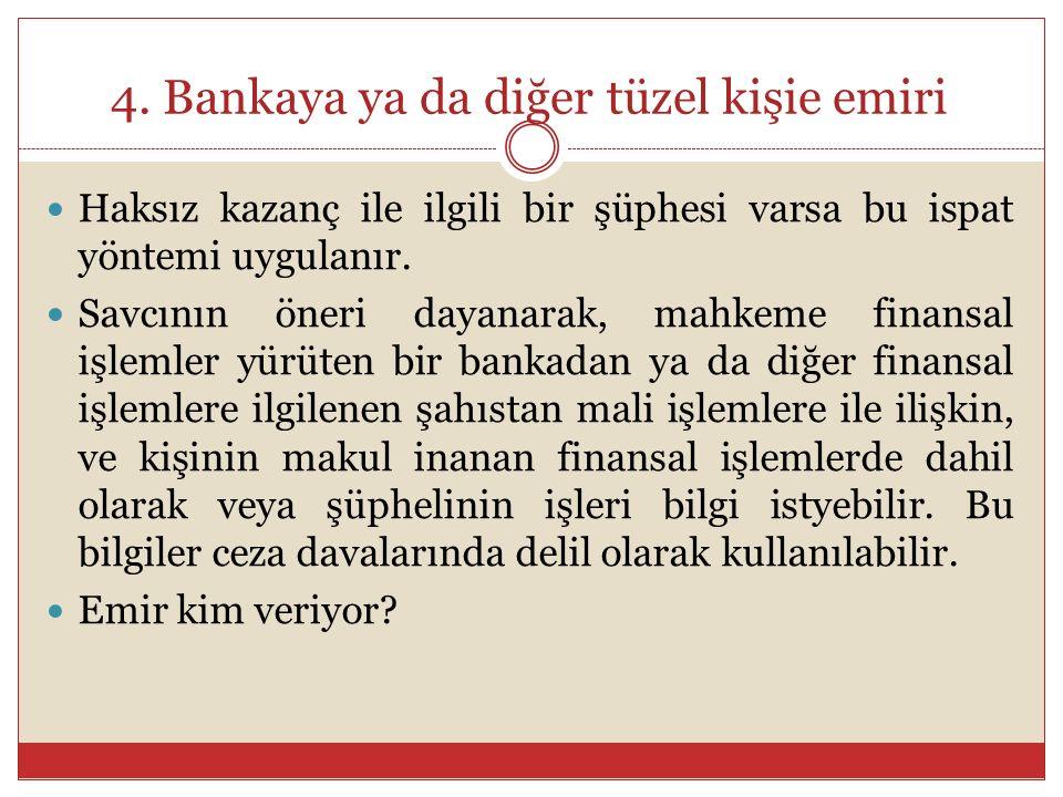 4. Bankaya ya da diğer tüzel kişie emiri Haksız kazanç ile ilgili bir şüphesi varsa bu ispat yöntemi uygulanır. Savcının öneri dayanarak, mahkeme fina