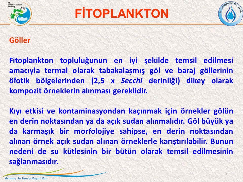 Göller Fitoplankton topluluğunun en iyi şekilde temsil edilmesi amacıyla termal olarak tabakalaşmış göl ve baraj göllerinin öfotik bölgelerinden (2,5