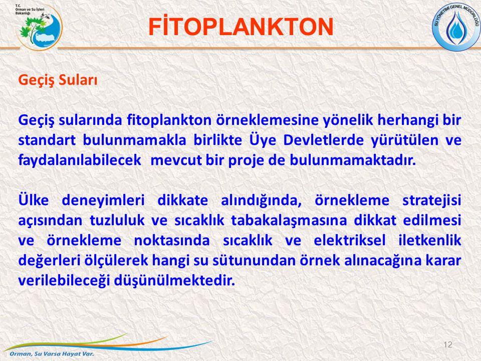 Geçiş Suları Geçiş sularında fitoplankton örneklemesine yönelik herhangi bir standart bulunmamakla birlikte Üye Devletlerde yürütülen ve faydalanılabi