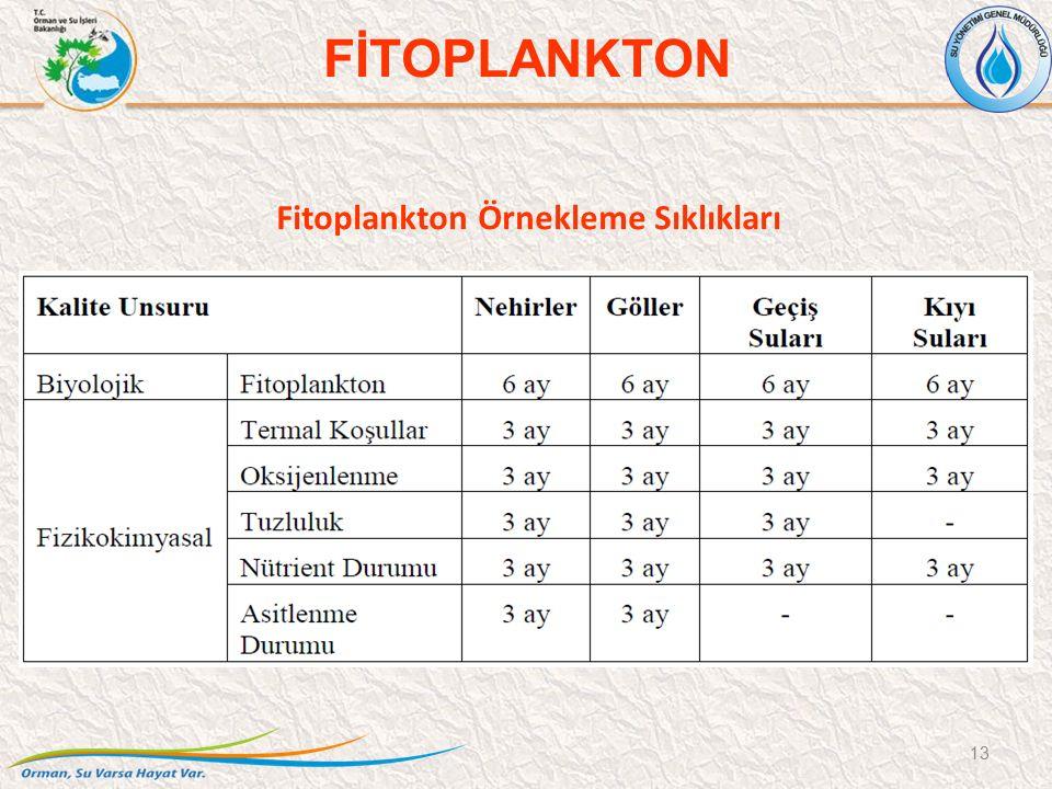 Fitoplankton Örnekleme Sıklıkları 13 FİTOPLANKTON