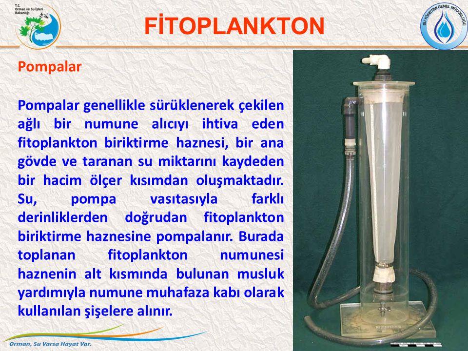 Pompalar Pompalar genellikle sürüklenerek çekilen ağlı bir numune alıcıyı ihtiva eden fitoplankton biriktirme haznesi, bir ana gövde ve taranan su miktarını kaydeden bir hacim ölçer kısımdan oluşmaktadır.