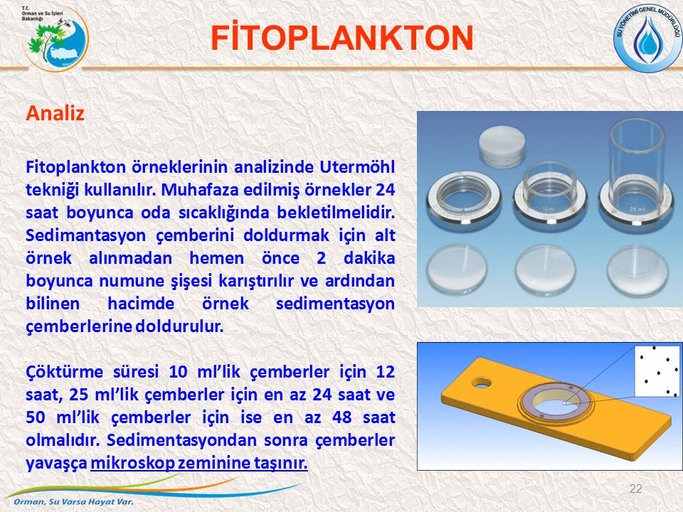 Analiz Fitoplankton örneklerinin analizinde Utermöhl tekniği kullanılır. Muhafaza edilmiş örnekler 24 saat boyunca oda sıcaklığında bekletilmelidir. S