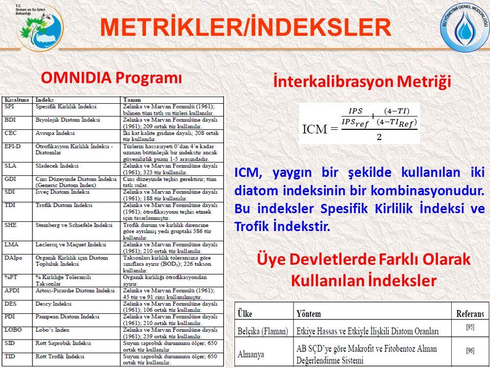 54 METRİKLER/İNDEKSLER İnterkalibrasyon Metriği ICM, yaygın bir şekilde kullanılan iki diatom indeksinin bir kombinasyonudur. Bu indeksler Spesifik Ki