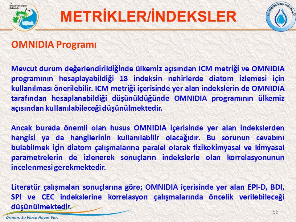 OMNIDIA Programı Mevcut durum değerlendirildiğinde ülkemiz açısından ICM metriği ve OMNIDIA programının hesaplayabildiği 18 indeksin nehirlerde diatom izlemesi için kullanılması önerilebilir.