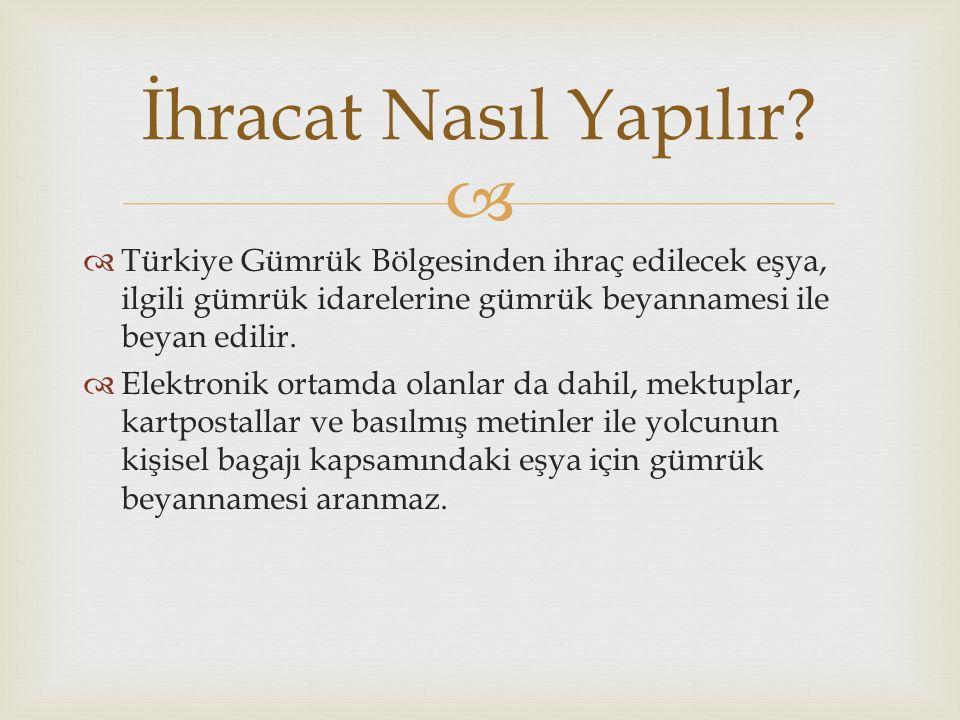   Türkiye Gümrük Bölgesinden ihraç edilecek eşya, ilgili gümrük idarelerine gümrük beyannamesi ile beyan edilir.