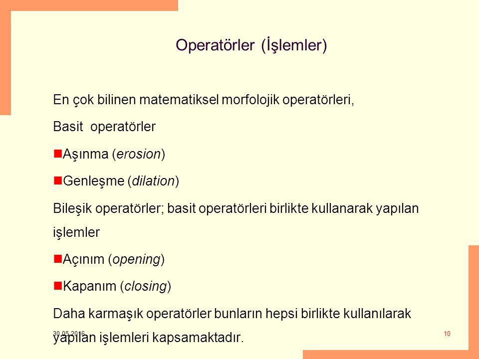 Operatörler (İşlemler) En çok bilinen matematiksel morfolojik operatörleri, Basit operatörler Aşınma (erosion) Genleşme (dilation) Bileşik operatörler; basit operatörleri birlikte kullanarak yapılan işlemler Açınım (opening) Kapanım (closing) Daha karmaşık operatörler bunların hepsi birlikte kullanılarak yapılan işlemleri kapsamaktadır.