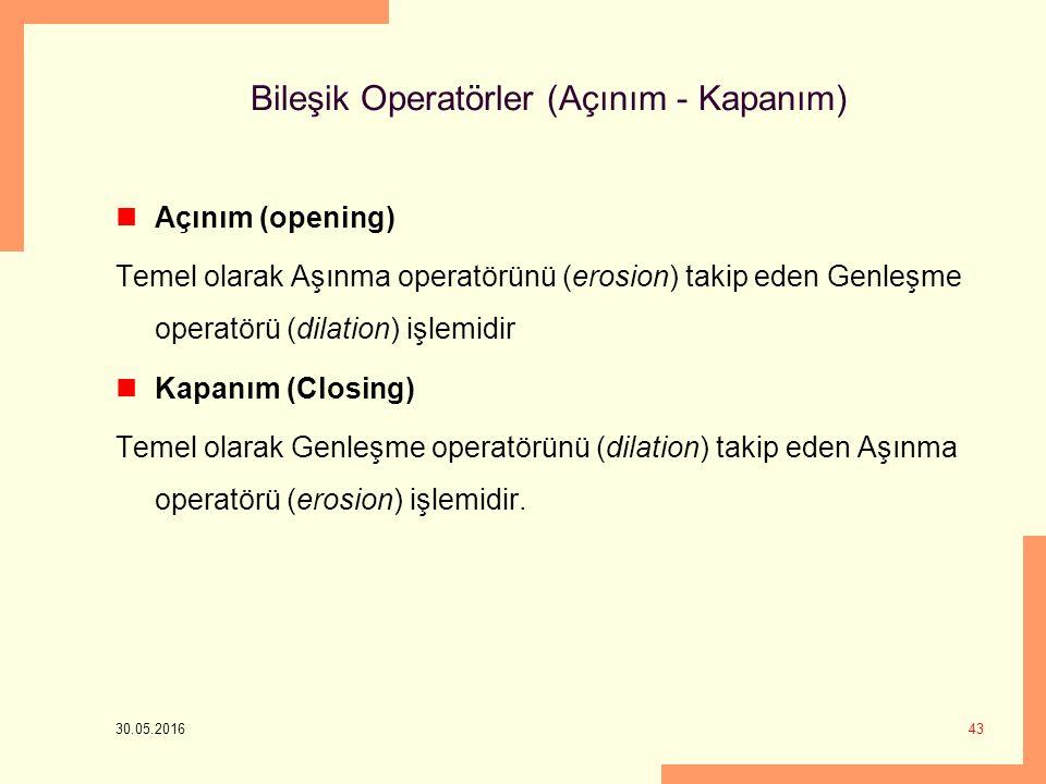 Bileşik Operatörler (Açınım - Kapanım) Açınım (opening) Temel olarak Aşınma operatörünü (erosion) takip eden Genleşme operatörü (dilation) işlemidir Kapanım (Closing) Temel olarak Genleşme operatörünü (dilation) takip eden Aşınma operatörü (erosion) işlemidir.