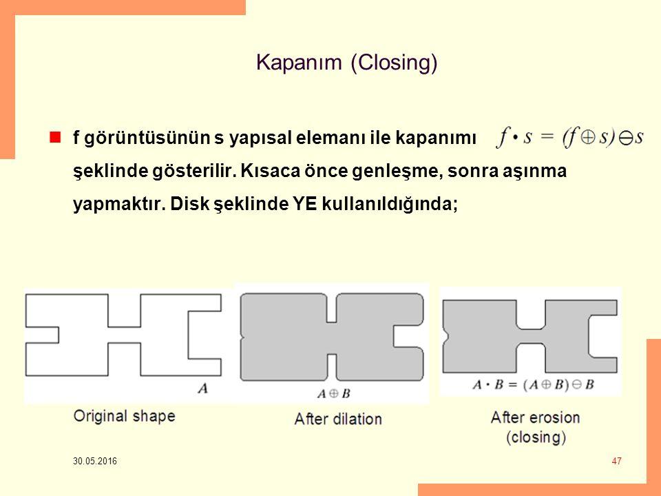 Kapanım (Closing) 30.05.2016 47 f görüntüsünün s yapısal elemanı ile kapanımı şeklinde gösterilir.