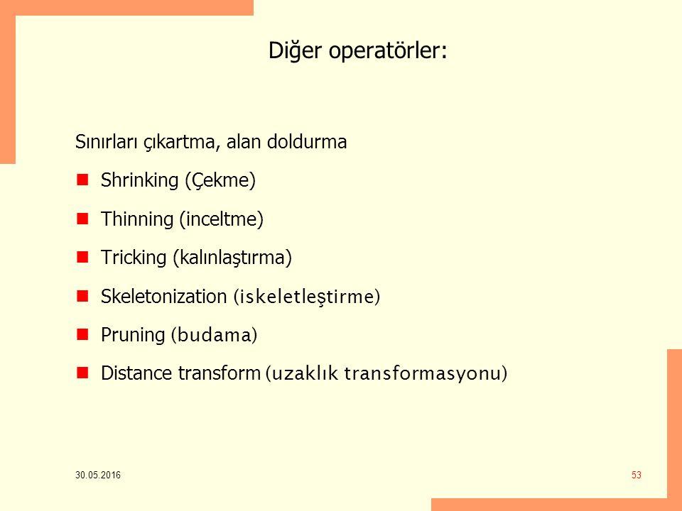 Diğer operatörler: Sınırları çıkartma, alan doldurma Shrinking (Çekme) Thinning (inceltme) Tricking (kalınlaştırma) Skeletonization (iskeletle ş tirme) Pruning (budama) Distance transform (uzaklık transformasyonu) 30.05.2016 53