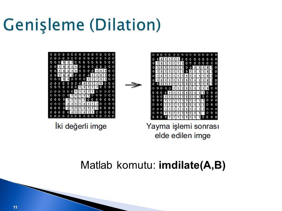 Matlab komutu: imdilate(A,B) 11