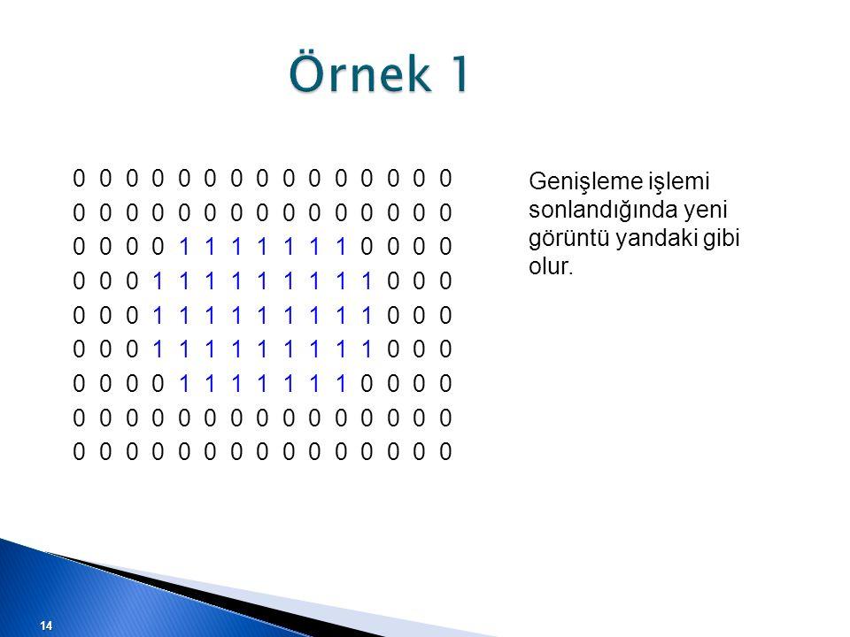 Örnek 1 Genişleme işlemi sonlandığında yeni görüntü yandaki gibi olur. 0 0 0 0 0 0 0 0 0 0 0 0 0 0 0 0 0 0 0 1 1 1 1 1 1 1 0 0 0 0 0 0 0 1 1 1 1 1 1 1