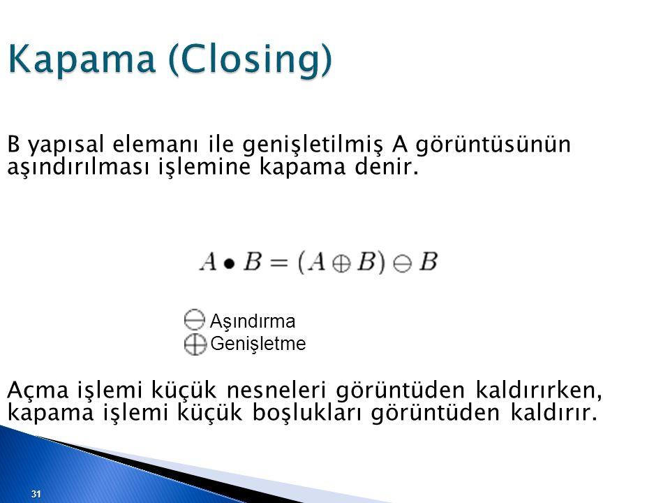 Kapama (Closing) B yapısal elemanı ile genişletilmiş A görüntüsünün aşındırılması işlemine kapama denir. Açma işlemi küçük nesneleri görüntüden kaldır
