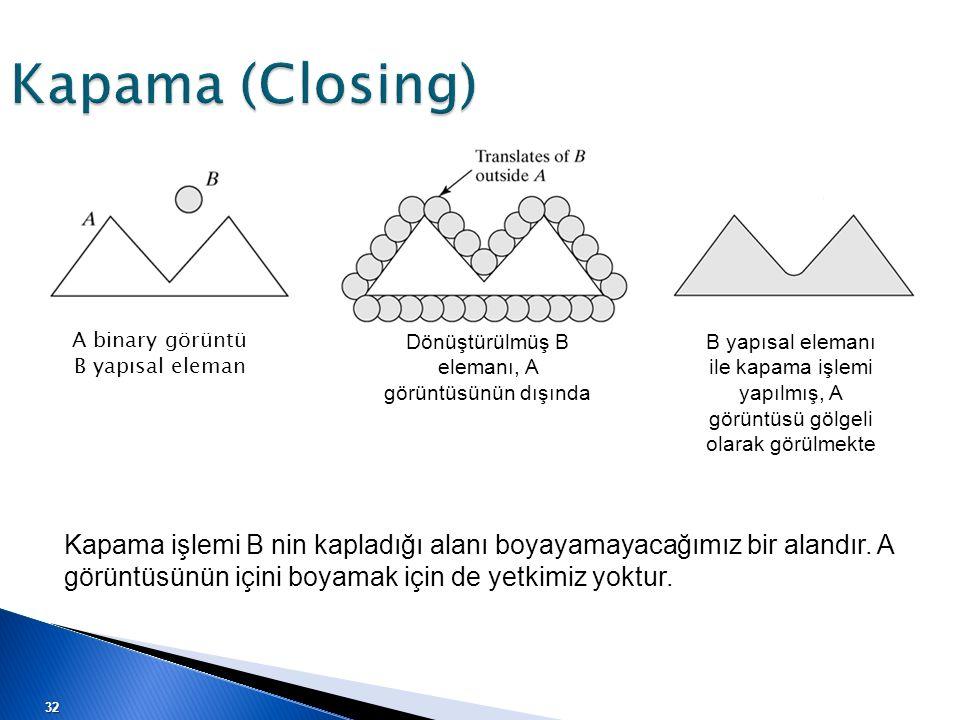 Kapama (Closing) A binary görüntü B yapısal eleman Dönüştürülmüş B elemanı, A görüntüsünün dışında B yapısal elemanı ile kapama işlemi yapılmış, A gör