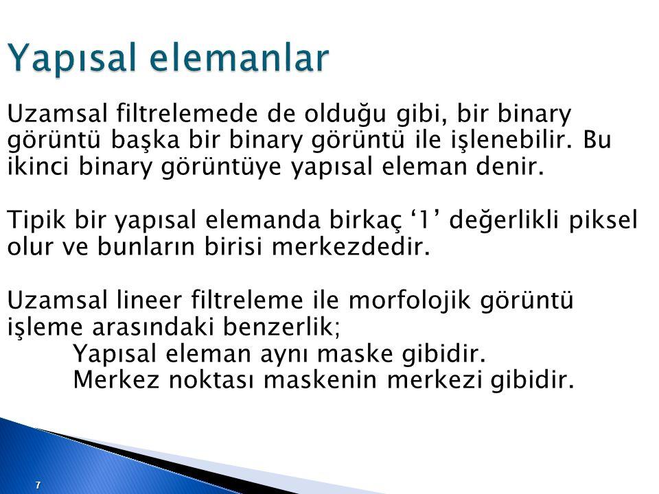 Yapısal elemanlar Uzamsal filtrelemede de olduğu gibi, bir binary görüntü başka bir binary görüntü ile işlenebilir. Bu ikinci binary görüntüye yapısal