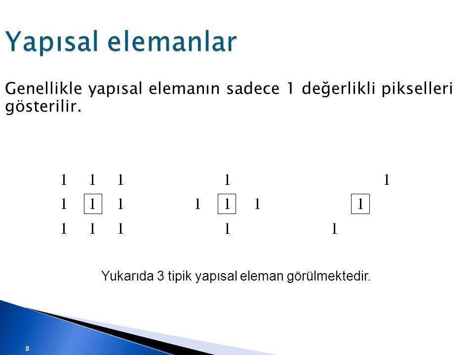 Yapısal elemanlar Genellikle yapısal elemanın sadece 1 değerlikli pikselleri gösterilir. Yukarıda 3 tipik yapısal eleman görülmektedir. 8
