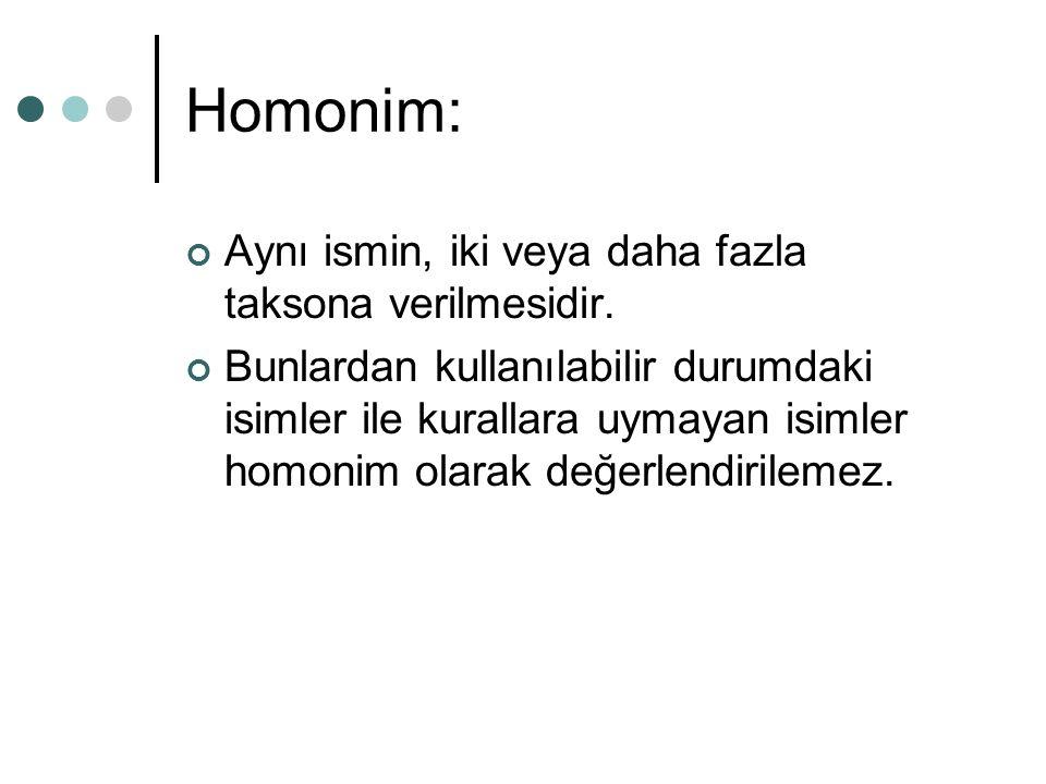 Homonim: Aynı ismin, iki veya daha fazla taksona verilmesidir. Bunlardan kullanılabilir durumdaki isimler ile kurallara uymayan isimler homonim olarak