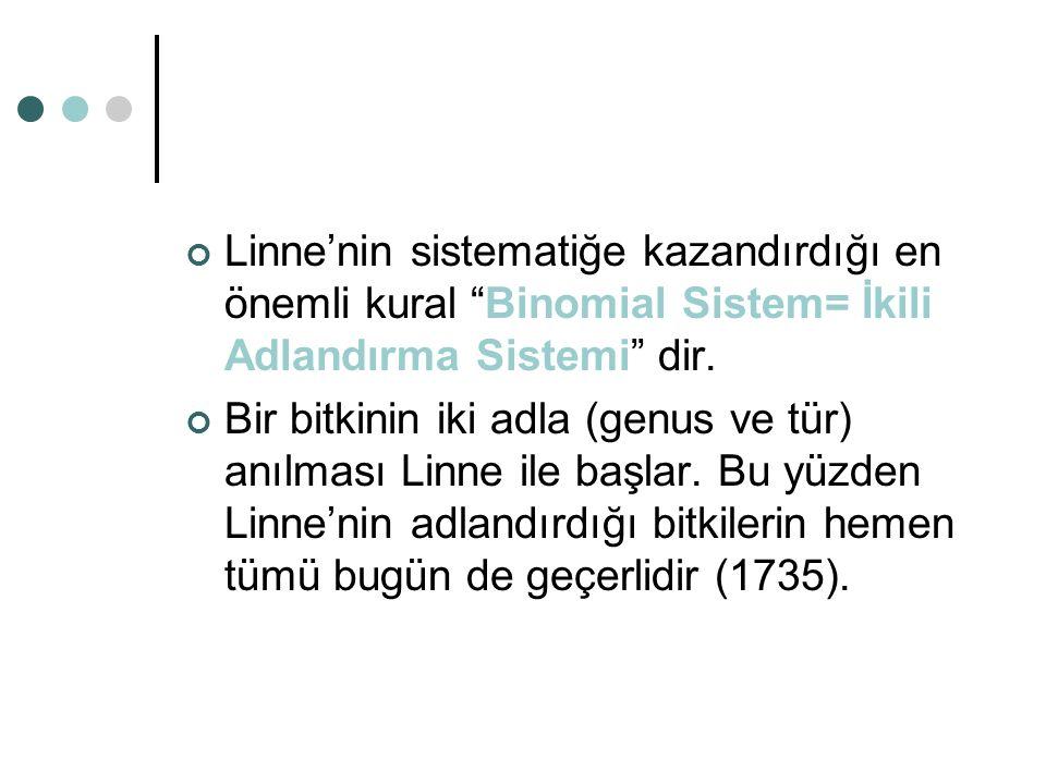 """Linne'nin sistematiğe kazandırdığı en önemli kural """"Binomial Sistem= İkili Adlandırma Sistemi"""" dir. Bir bitkinin iki adla (genus ve tür) anılması Linn"""