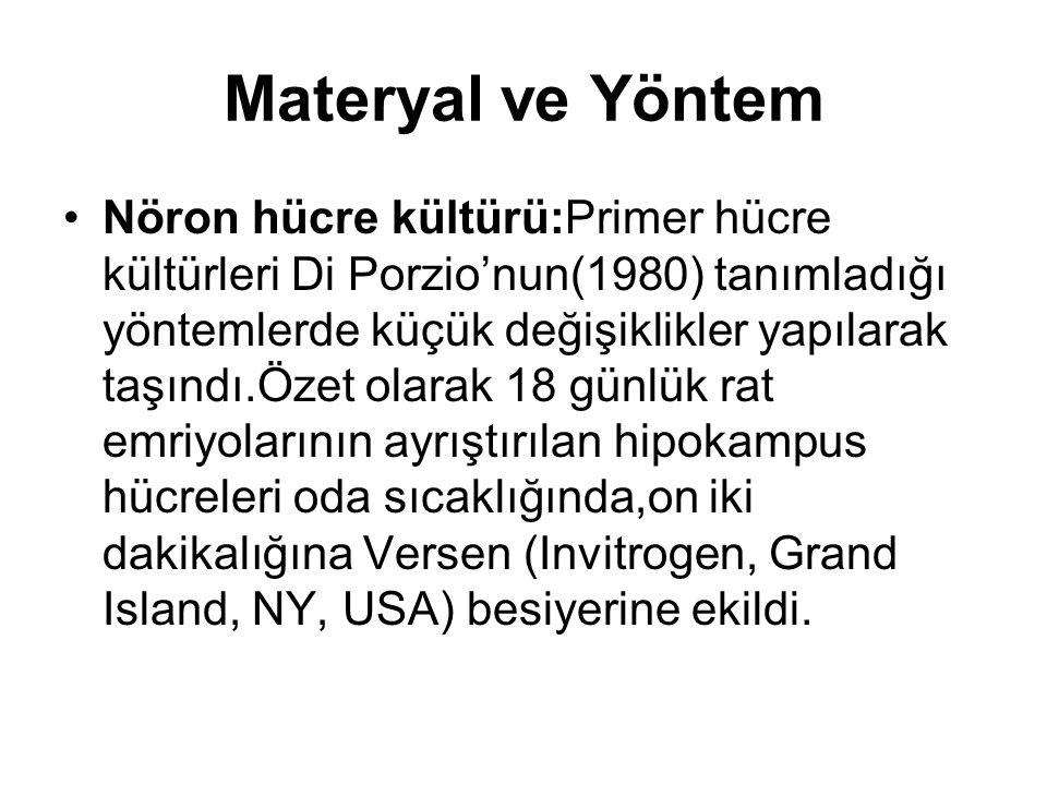 Materyal ve Yöntem Nöron hücre kültürü:Primer hücre kültürleri Di Porzio'nun(1980) tanımladığı yöntemlerde küçük değişiklikler yapılarak taşındı.Özet olarak 18 günlük rat emriyolarının ayrıştırılan hipokampus hücreleri oda sıcaklığında,on iki dakikalığına Versen (Invitrogen, Grand Island, NY, USA) besiyerine ekildi.