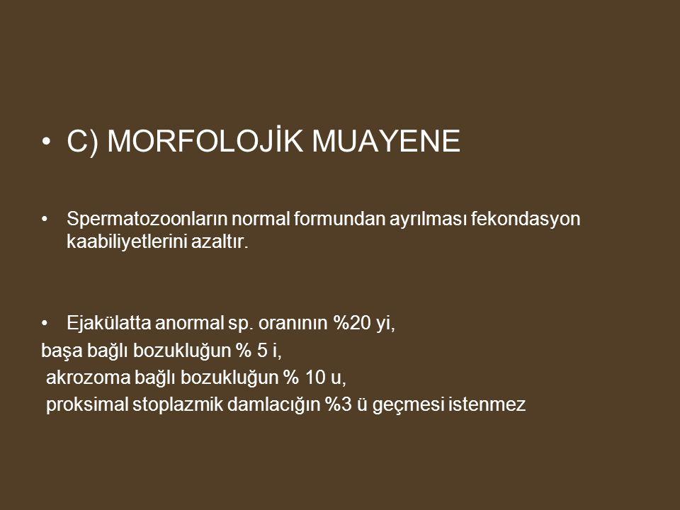 C) MORFOLOJİK MUAYENE Spermatozoonların normal formundan ayrılması fekondasyon kaabiliyetlerini azaltır.