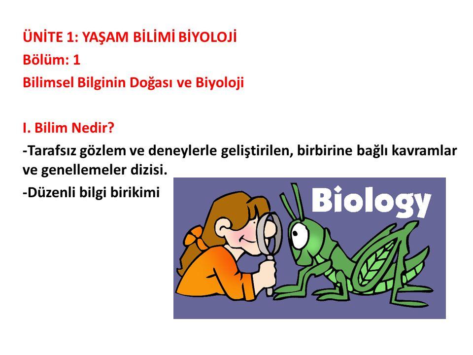 ÜNİTE 1: YAŞAM BİLİMİ BİYOLOJİ Bölüm: 1 Bilimsel Bilginin Doğası ve Biyoloji I. Bilim Nedir? -Tarafsız gözlem ve deneylerle geliştirilen, birbirine ba