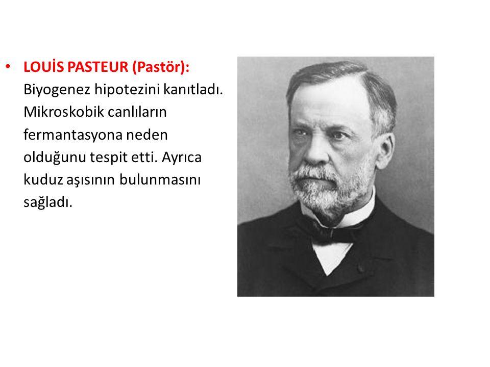 LOUİS PASTEUR (Pastör): Biyogenez hipotezini kanıtladı.