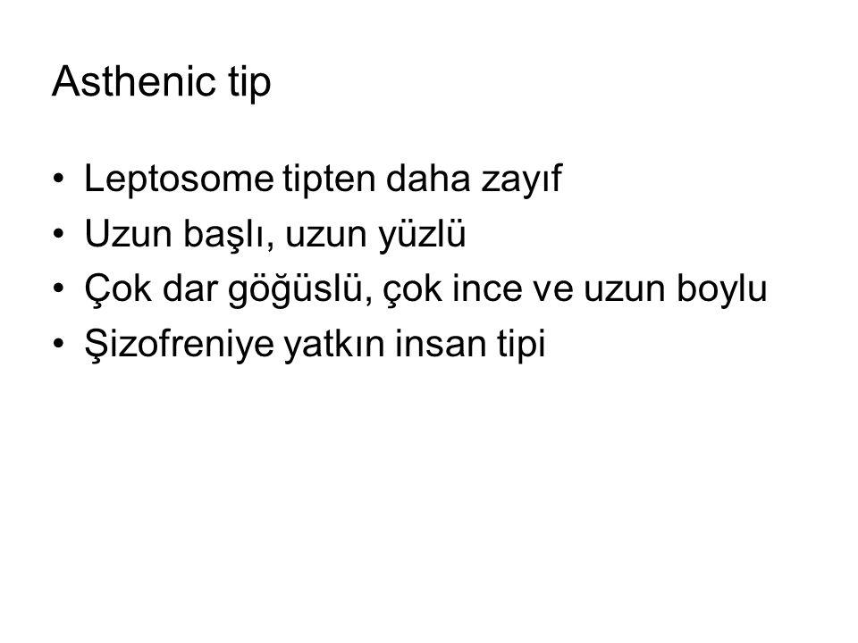 Asthenic tip Leptosome tipten daha zayıf Uzun başlı, uzun yüzlü Çok dar göğüslü, çok ince ve uzun boylu Şizofreniye yatkın insan tipi