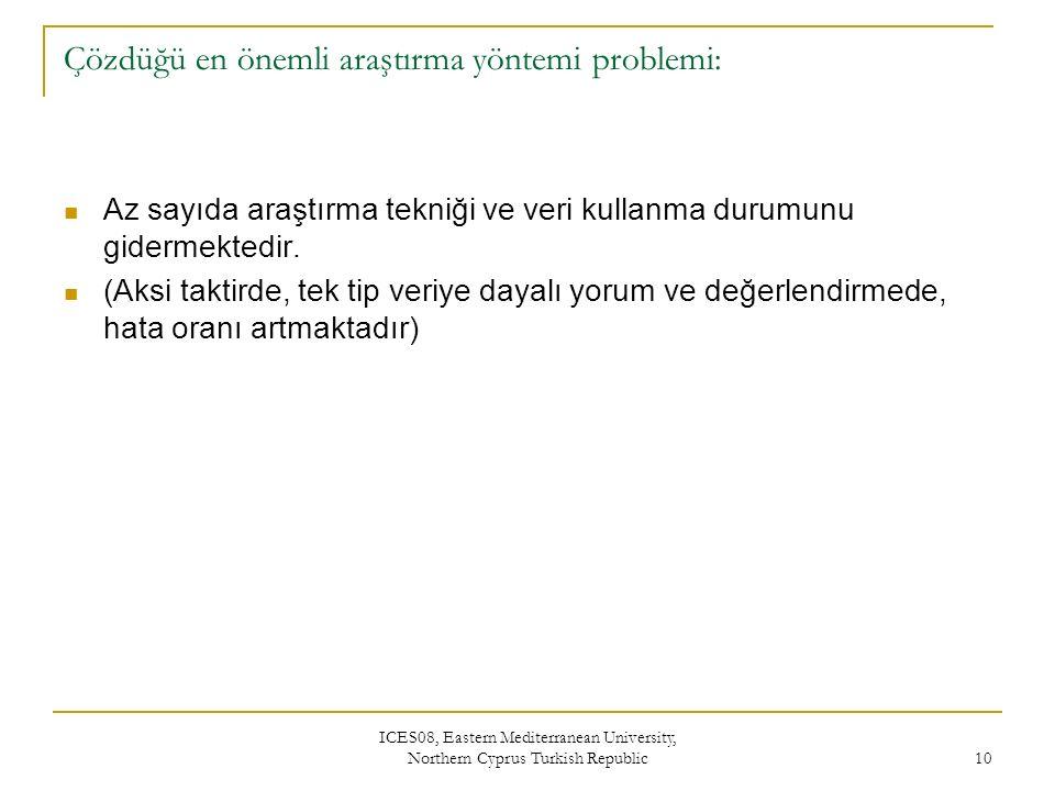 ICES08, Eastern Mediterranean University, Northern Cyprus Turkish Republic 10 Çözdüğü en önemli araştırma yöntemi problemi: Az sayıda araştırma tekniği ve veri kullanma durumunu gidermektedir.