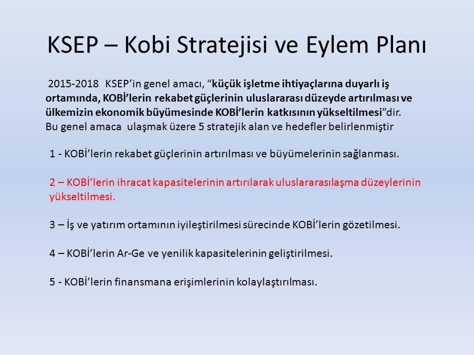 KSEP – Kobi Stratejisi ve Eylem Planı 2015-2018 KSEP'in genel amacı, küçük işletme ihtiyaçlarına duyarlı iş ortamında, KOBİ'lerin rekabet güçlerinin uluslararası düzeyde artırılması ve ülkemizin ekonomik büyümesinde KOBİ'lerin katkısının yükseltilmesi dir.