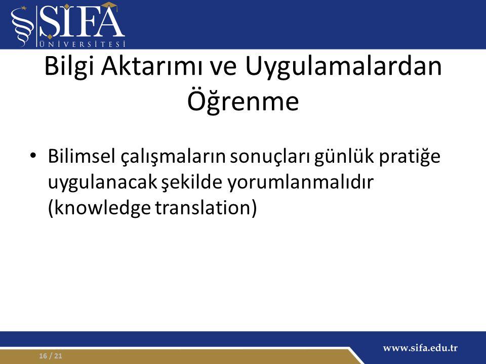 Bilgi Aktarımı ve Uygulamalardan Öğrenme Bilimsel çalışmaların sonuçları günlük pratiğe uygulanacak şekilde yorumlanmalıdır (knowledge translation) / 2116